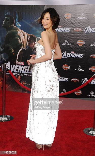 """Ryoko Yonekura attends the Los Angeles premiere of """"Marvel's Avengers"""" at the El Capitan Theatre on April 11, 2012 in Hollywood, California."""