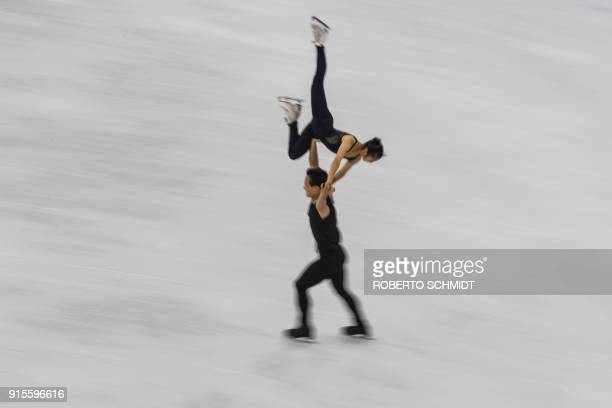 Ryom Tae Ok and Kim Ju Sik of North Korea practice at the Gangneung Ice Arena ahead of the pairs figure skating competition of the Pyeongchang 2018...