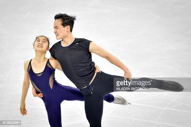 Ryom Tae Ok and Kim Ju Sik of North Korea practise at the Gangneung Ice Arena ahead of the pairs figure skating competition of the Pyeongchang 2018...