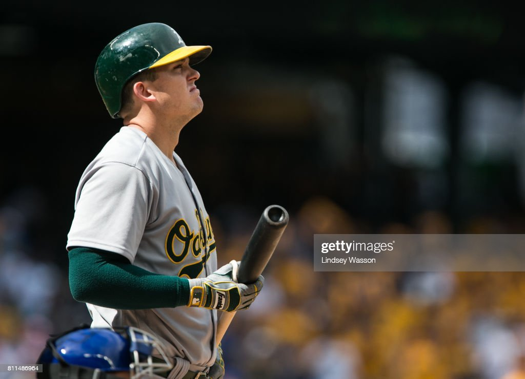 Ryon Healy #25 of the Oakland Athletics steps back in the batter's box during his strikeout to end the game against Edwin Diaz #39 of the Seattle Mariners at Safeco Field on July 9, 2017 in Seattle, Washington. The Seattle Mariners beat the Oakland Athletics 4-0.