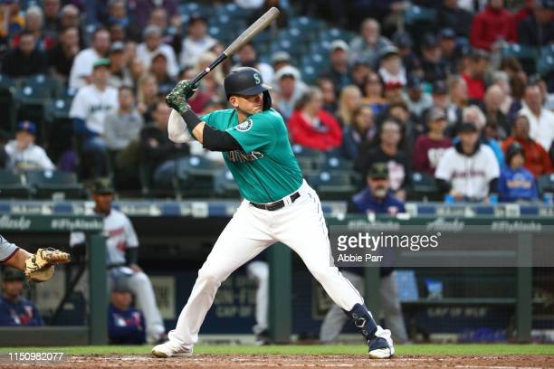 Ryon Healy of the Seattle Mariners at bat in the fourth inning against the Minnesota Twins during their game at T-Mobile Park on May 17, 2019 in...