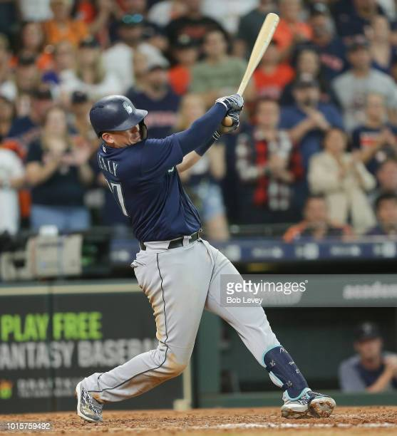 Ryon Healy of the Seattle Mariners hits a home run in the ninth inning against the Houston Astros at Minute Maid Park on August 12, 2018 in Houston,...
