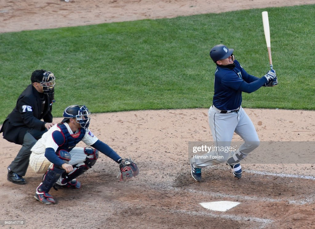 Ryon Healy #27 of the Seattle Mariners hits a three-run double against the Minnesota Twins during the eighth inning of the game on April 7, 2018 at Target Field in Minneapolis, Minnesota. The Mariners defeated the Twins 11-4.