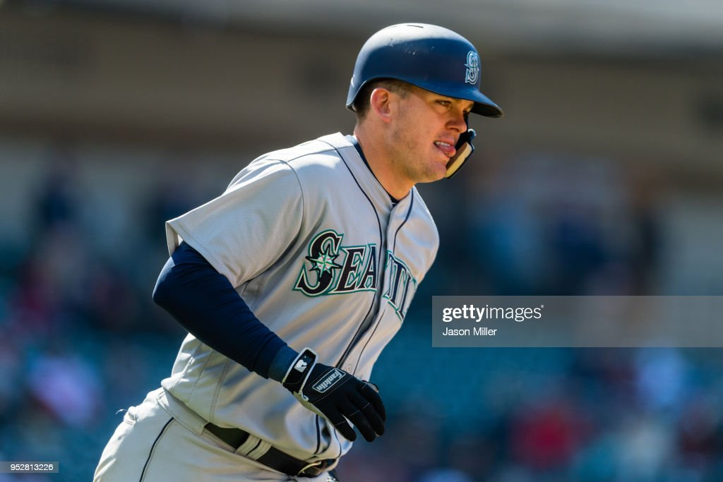 Ryon Healy #27 of the Seattle Mariners hits a two run home run during the eighth inning against the Cleveland Indians at Progressive Field on April 29, 2018 in Cleveland, Ohio.