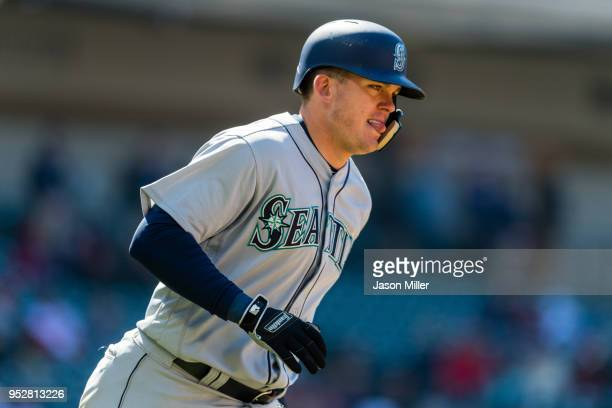 Ryon Healy of the Seattle Mariners hits a two run home run during the eighth inning against the Cleveland Indians at Progressive Field on April 29,...