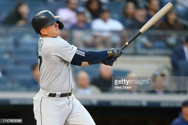 Ryon Healy of the Seattle Mariners hits an RBI sacrifice fly in the second inning against the New York Yankees at Yankee Stadium on May 07, 2019 in...