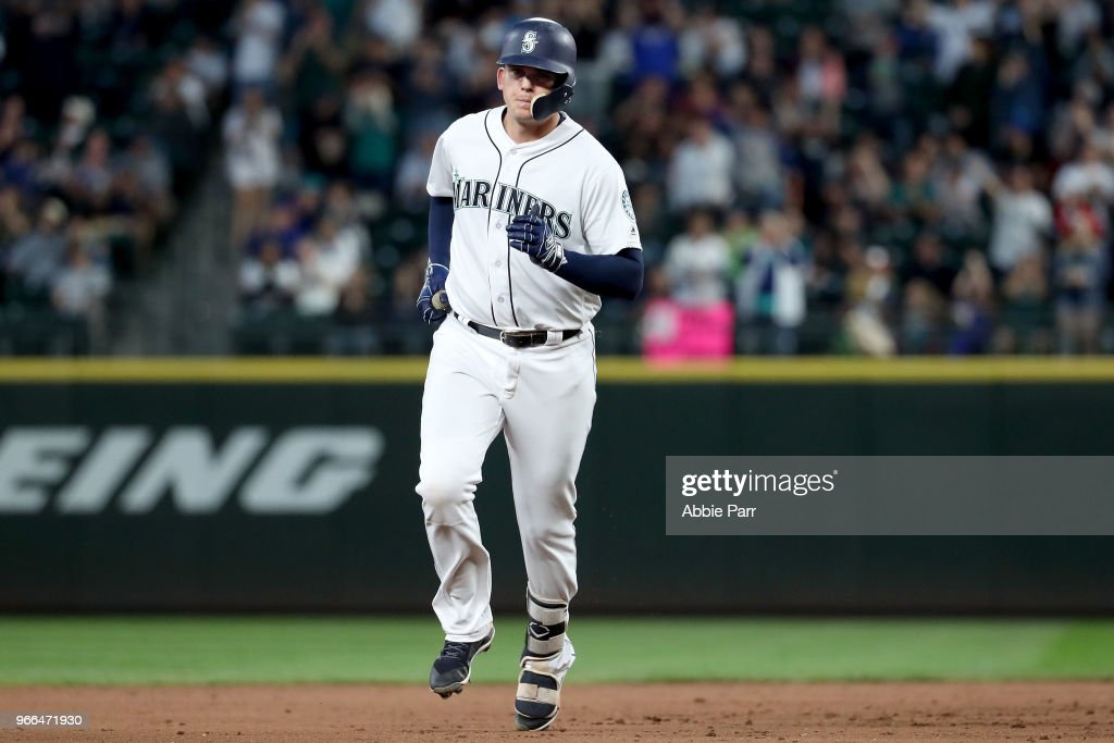 Ryon Healy #27 of the Seattle Mariners laps the bases after hitting a two run home run against the Tampa Bay Rays in the sixth inning during their game at Safeco Field on June 2, 2018 in Seattle, Washington.