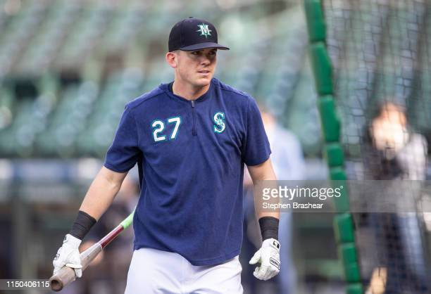 Ryon Healy of the Seattle Mariners leaves the cage after taking batting practice before a game against the Oakland Athletics at T-Mobile Park on May...