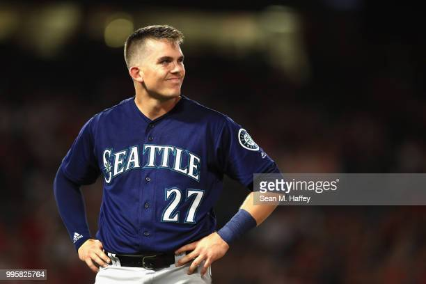 Ryon Healy of the Seattle Mariners looks on after flying out during the sixth inning of a game against the Los Angeles Angels of Anaheim at Angel...