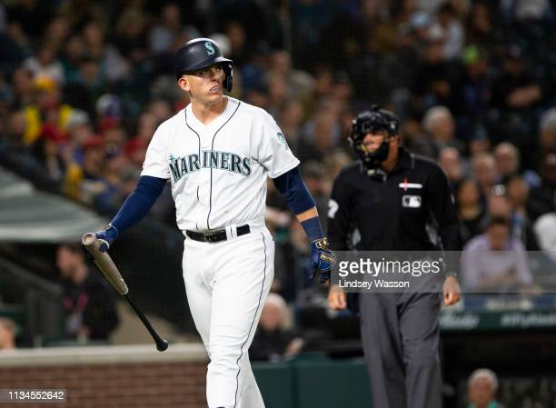 Ryon Healy of the Seattle Mariners reacts after striking out in the third inning against the Los Angeles Angels of Anaheim at T-Mobile Park on April...