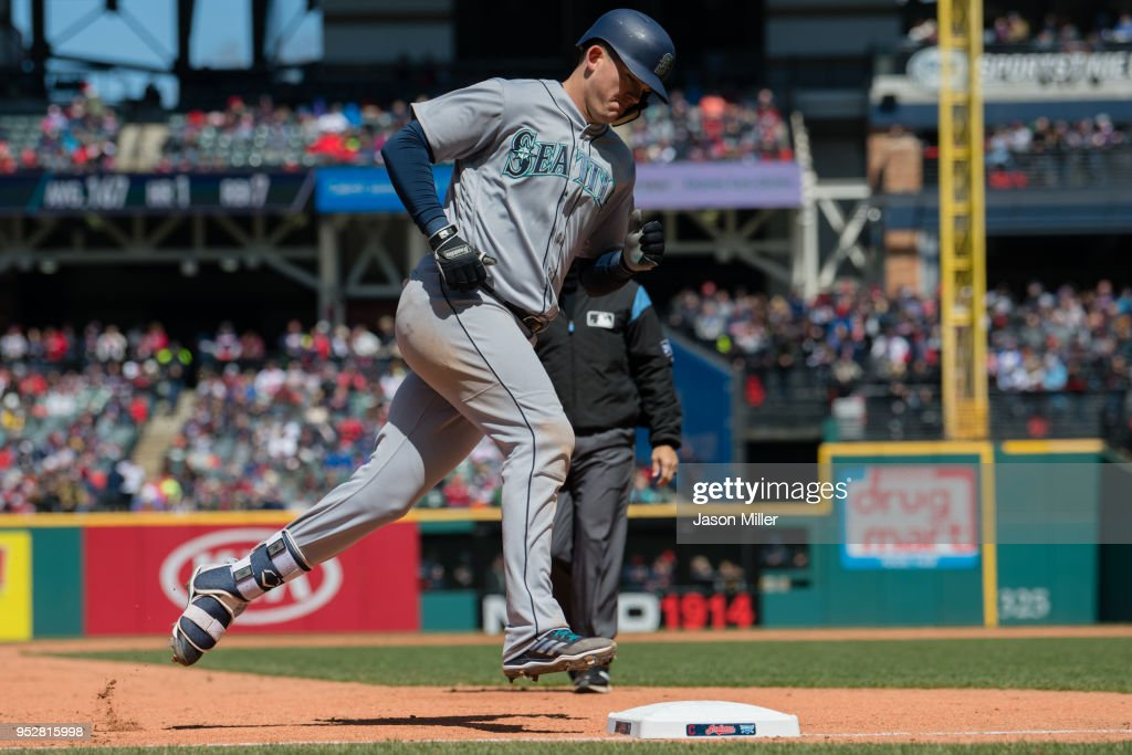 Ryon Healy #27 of the Seattle Mariners rounds the bases after hitting a solo home run during the sixth inning against the Cleveland Indians at Progressive Field on April 29, 2018 in Cleveland, Ohio.