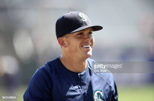 Ryon Healy the Seattle Mariners takes batting practice before their game against the San Francisco Giants at AT&T Park on April 3, 2018 in San...