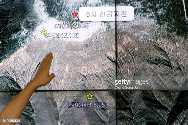 Ryoo YogGyu a Monotoring director of National Earthquake and Volcano Center shows seismic waves taking place in North Korea on a screen at the Korea...
