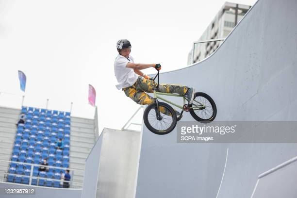 Ryosei Hotta in action during his first heat ride at the Ready Steady Tokyo BMX Freestyle Olympic Test Event in Ariake Urban Sports Park.