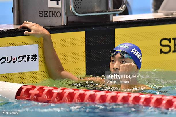 Ryosuke Irie of Japan celebrates after winning the Men's 100m Backstroke final during the Japan Swim 2016 at Tokyo Tatsumi International Swimming...