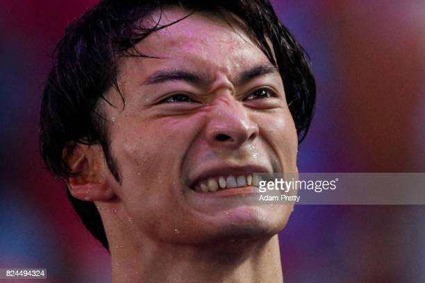 Ryosuke Irie of Japan competes during the Men's 4x100m Medley Relay Final on day seventeen of the Budapest 2017 FINA World Championships on July 30...