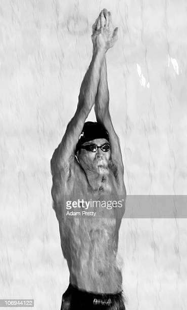 Ryosuke Irie of Japan leads off for team Japan in the Men's 4x100m Medley Relay during day six of the 16th Asian Games Guangzhou 2010 at Aoti...