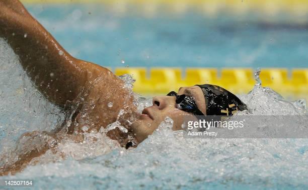 Ryosuke Irie of Japan swims in the mens 200m backstroke semi final during day five of the Japan Swim 2012 at Tatsumi International Swimming Pool on...