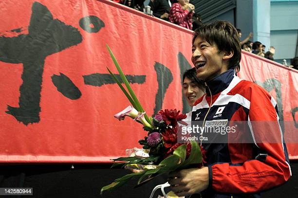 Ryosuke Irie who has qualified for the London 2012 Olympic Games attends a sendoff ceremony after day seven of Japan Swim 2012 at Tokyo Tatsumi...
