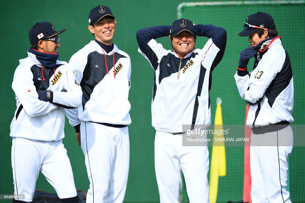 Ryosuke Kikuchi #4,Shogo Akiyama #55,Ryosuke Hirata #8 and Tetsuto Yamada #23 of Japan talk during SAMURAI JAPAN's training camp at the Sun Marine Stadium Miyazaki on February 24, 2017 in Miyazaki, Japan.