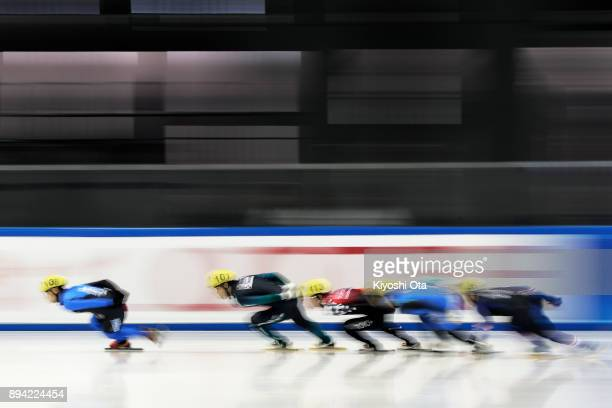 Ryosuke Sakazume competes in the Men's 1000m Heat during day two of the 40th All Japan Short Track Speed Skating Championships at Nippon Gaishi Arena...
