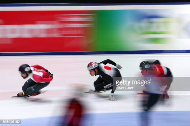 Ryosuke Sakazume of Japan compete in the Mens 5000m Relay A final race during the Audi ISU World Cup Short Track Speed Skating at Optisport...