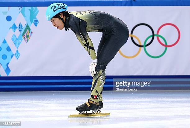 Ryosuke Sakazume of Japan competes in the Short Track Speed Skating Men's 1500m qualifying on day 3 of the Sochi 2014 Winter Olympics at Iceberg...