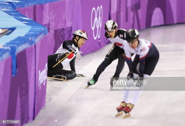 Ryosuke Sakazume of Japan crashes during the Men's 5000m Relay Short Track Speed Skating heat 2 on day four of the PyeongChang 2018 Winter Olympic...