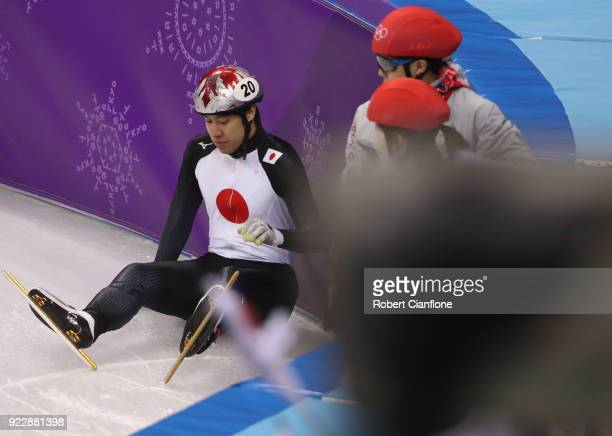 Ryosuke Sakazume of Japan falls during the Men's 500m Short Track Speed Skating Semi Final on day thirteen of the PyeongChang 2018 Winter Olympic...