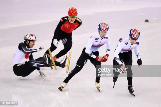 Ryosuke Sakazume of Japan falls in his Men's 500m Short Track Speed Skating Semi Final on day thirteen of the PyeongChang 2018 Winter Olympic Games...