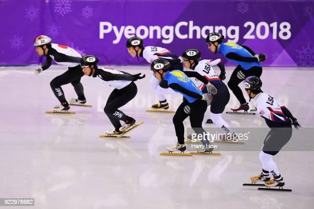 Ryosuke Sakazume of Japan leads during the Short Track Speed Skating Men's 5000m Relay Final B on day thirteen of the PyeongChang 2018 Winter Olympic...
