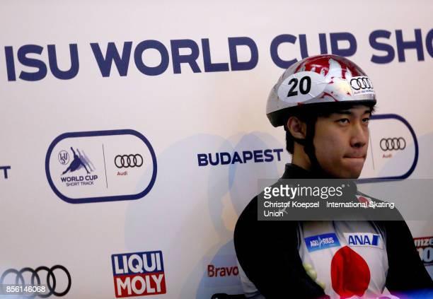 Ryosuke Sakazume of Japan prepares during the men 500m quarterfinals heat one during the Audi ISU World Cup Short Track Speed Skating at Bok Hall on...
