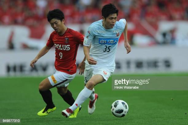 Ryosuke Shindo of Consadole Sapporo in action during the JLeague J1 match between Urawa Red Diamonds and Consadole Sapporo at Saitama Stadium on...