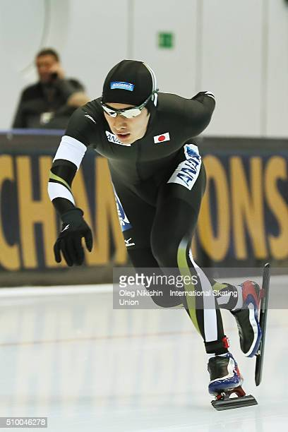 Ryosuke Tsuchiya of Japan compete in the Men 5000 meters race during day 3 of the ISU World Single Distances Speed Skating Championships held at...