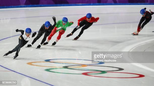 Ryosuke Tsuchiya of Japan competes during the Men's Speed Skating Mass Start Semifinal 2 on day 15 of the PyeongChang 2018 Winter Olympic Games at...