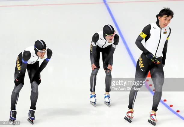 Ryosuke Tsuchiya Shane Williamson and Seitaro Ichinohe of Japan react after competing in the Speed Skating Men's Team Pursuit Final C against Italy...