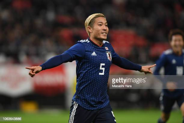 Ryosuke Yamanaka of Japan celebrates after scoring the first goal of his team during the international friendly match between Japan and Kyrgyz at...
