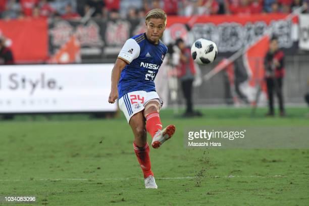 Ryosuke Yamanaka of Yokohama F.Marinos in action during the J.League J1 match between Yokohama F.Marinos and Urawa Red Diamonds at Nissan Stadium on...