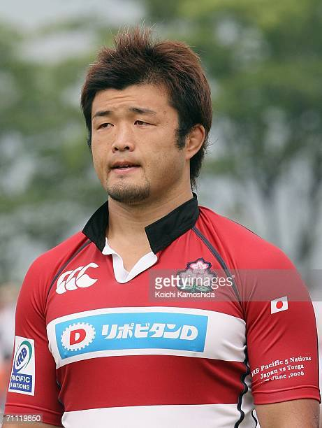 Ryota Asano of Japan poses before the start match during the IRB Pacific 5 Nations match between Japan and Tonga at Honjo Athletics Stadium on June 4...