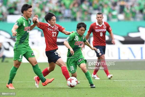 Ryota Kajikawa of Tokyo Verdy in action during the J.League J2 match between Tokyo Verdy and Nagoya Grampus at Ajinomoto Stadium on June 10, 2017 in...