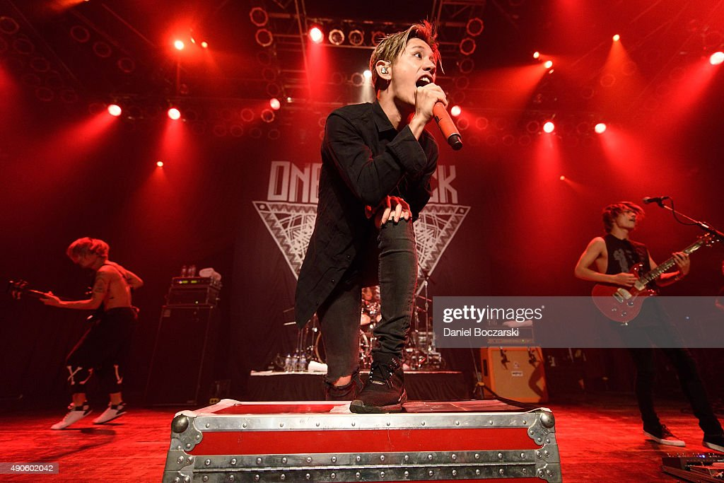 Ryota Kohama, Takahiro Moriuchi and Toru Yamashita of One Ok Rock perform at House Of Blues Chicago on September 29, 2015 in Chicago, Illinois.