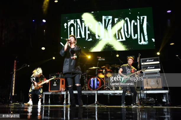 Ryota Kohama Takahiro Taka Moriuchi Tomoya Kanki and Toru Yamashita of One OK Rock perform during the 2017 Alternative Press Music Awards at KeyBank...