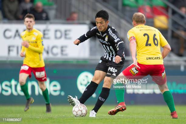 Ryota Morioka of Charleroi during the Jupiler Pro League play-off 2 group A match between Kv Oostende and Sporting Charleroi on April 27, 2019 in...