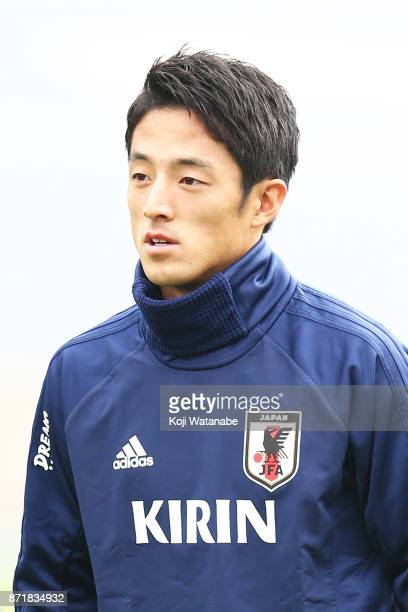 Ryota Morioka of Japan in action during a Japan training session ahead of the international friendly against Brazil on November 8 2017 in Lille France