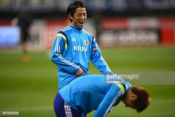Ryota Morioka of Japan practises before the international friendly match between Japan and Jamaica at Denka Big Swan Stadium on October 10 2014 in...