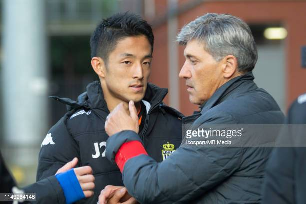 Ryota Morioka with Felice Mazu during the Jupiler Pro League playoff 2 group A match between Beerschot Wilrijk and Sporting Charleroi on May 11 2019...