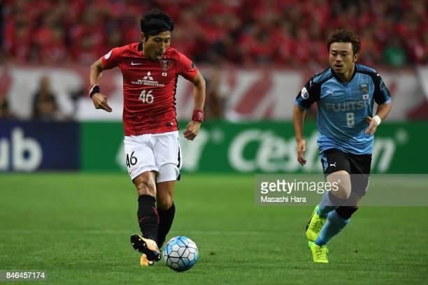 Ryota Moriwaki of Urawa Red Diamonds in action during the AFC Champions League quarter final second leg match between Urawa Red Diamonds and Kawasaki...