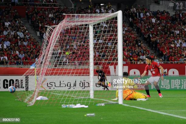 Ryota Moriwaki of Urawa Red Diamonds scores the third goal during the AFC Champions League Round of 16 match between Urawa Red Diamonds and Jeju...