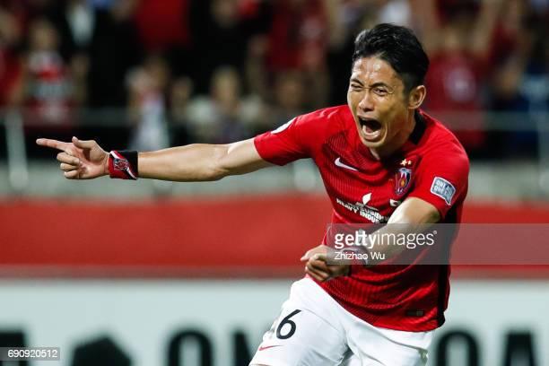 Ryota Moriwaki of Urawa Reds Diamonds celebrates his scoring during the AFC Champions League Round of 16 match between Urawa Red Diamonds and Jeju...