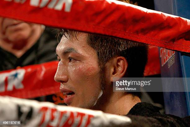 Ryota Murata is shown in his corner between rounds during his middleweight fight against Gunnar Jackson at the Thomas Mack Center on November 7 2015...